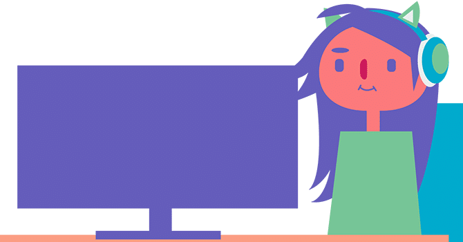 cartoon of a girl looking at a computer monitor